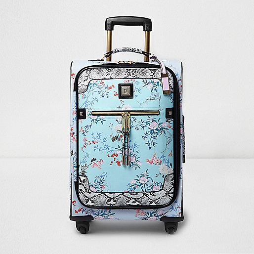 Valise de cabine à fleurs bleue à roulettes
