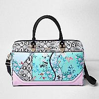 Blue floral and snake print weekend bag