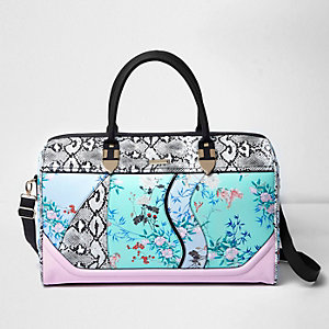 Blue floral and snake print weekend bag