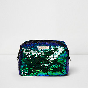 Green sequin make-up bag