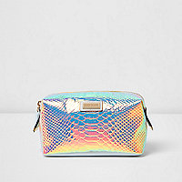Metallic snake print make-up bag