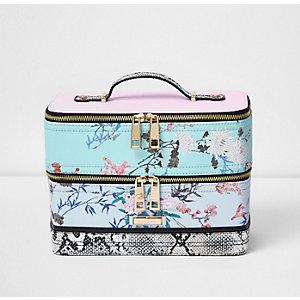 Blue floral print vanity case