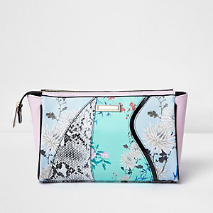 Blue floral and snake print make-up wash bag