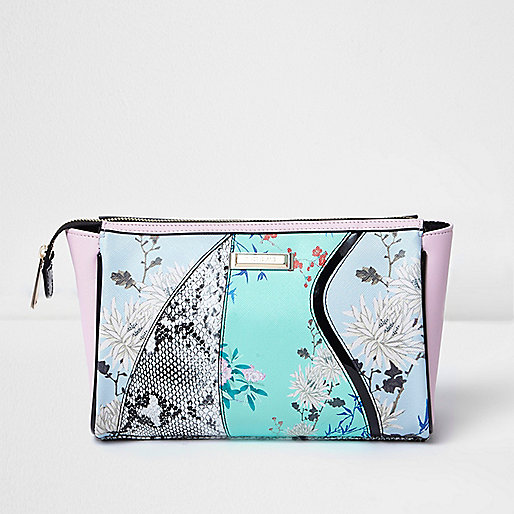 Blue floral and snake print make-up wash bag