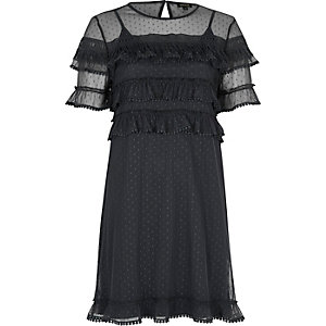 Dark grey mesh frill dress