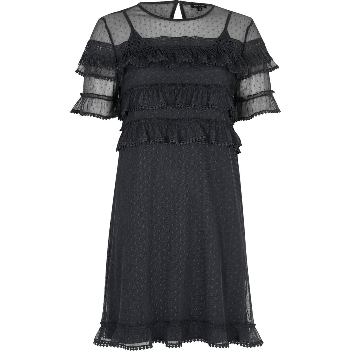 Dark grey mesh frill dress