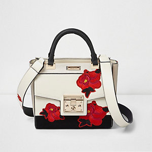 White floral print embroidered tote bag