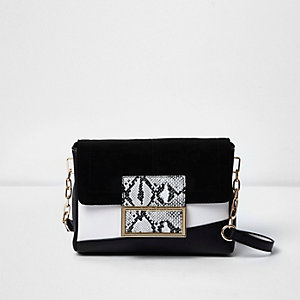 Black and white snakeskin print bag