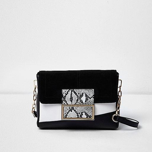 Black and white snakeskin print bag