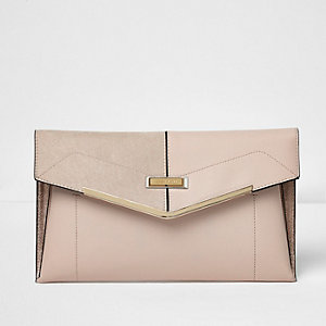 Nude foldover envelope clutch bag