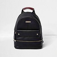 Black leather look top pocket backpack