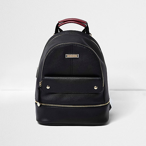 Black leather look top pocket backpack