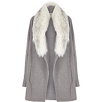 Grey faux fur collar jacket