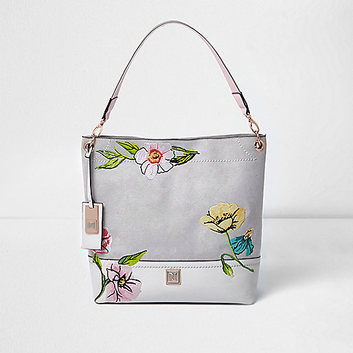 Grey floral embroidered slouch bag