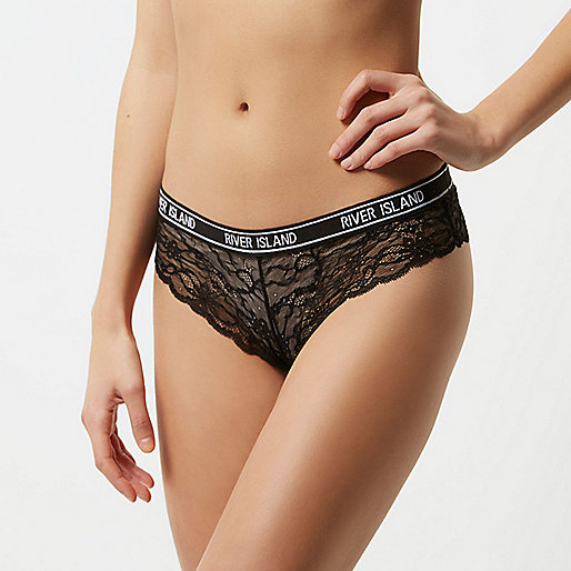 Black lace sporty brief