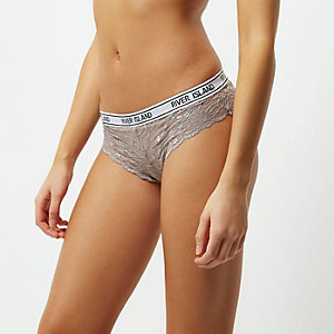 Grey lace sporty brief