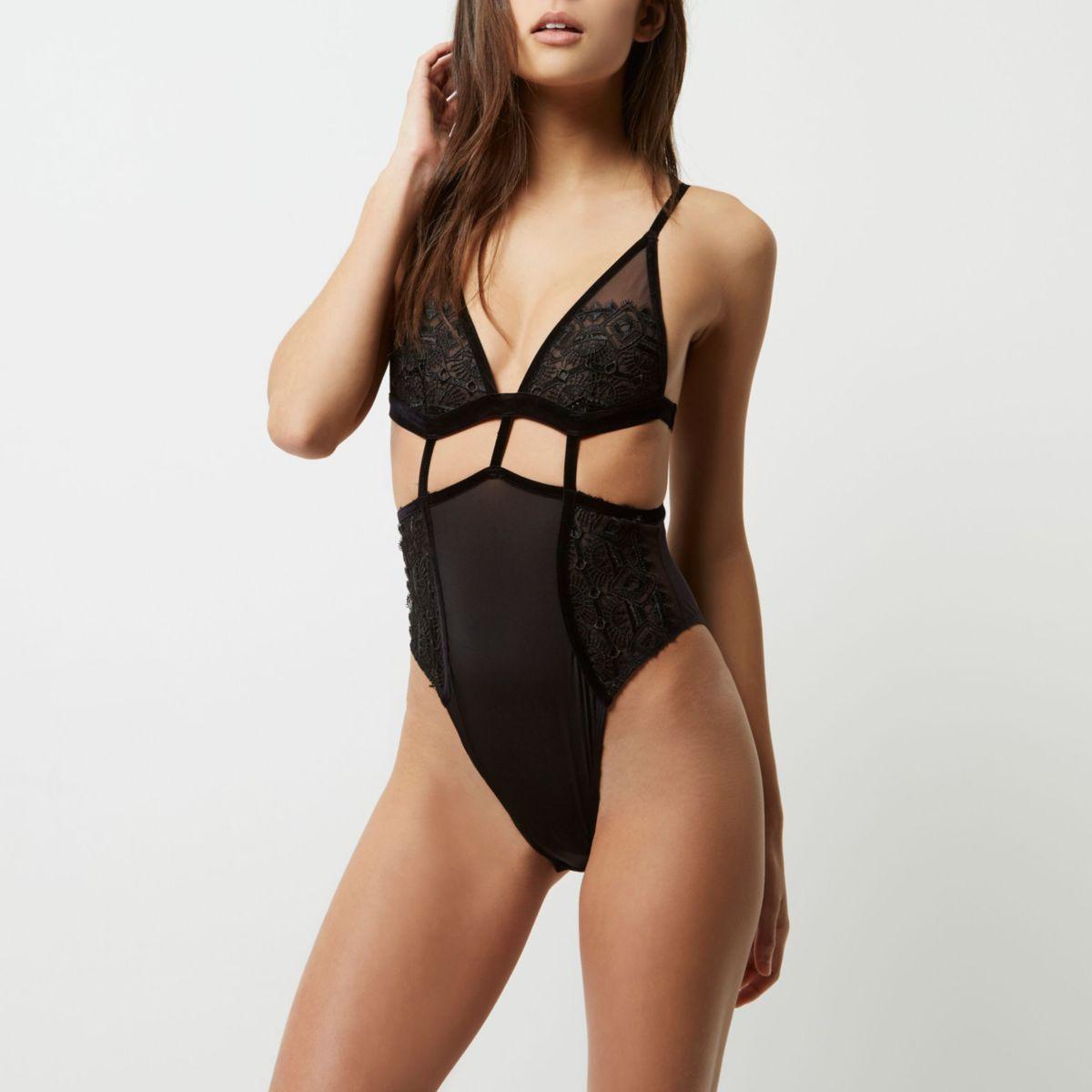 Black crochet lingerie bodysuit