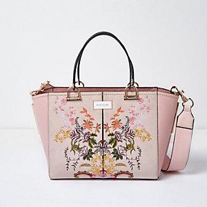 Roze geborduurde handtas met bloemenprint