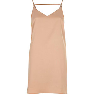 Nude midi slip dress