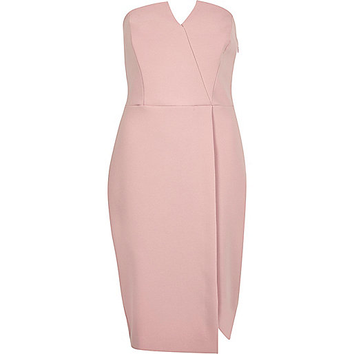 Blush pink bandeau dress