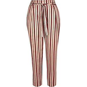 Pink stripe soft tie tapered pants