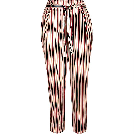 Pink stripe soft tie tapered trousers