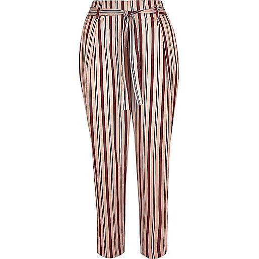 Pantalon fuselé rayé rose à cordon