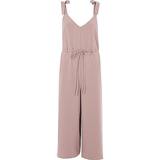 Blush pink culotte jumpsuit