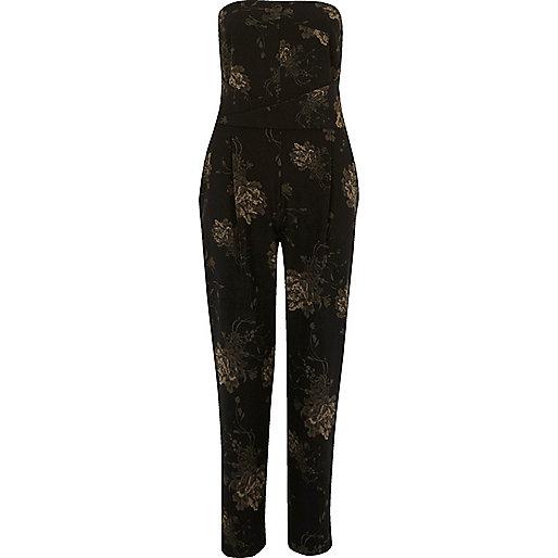 Black floral print bandeau jumpsuit