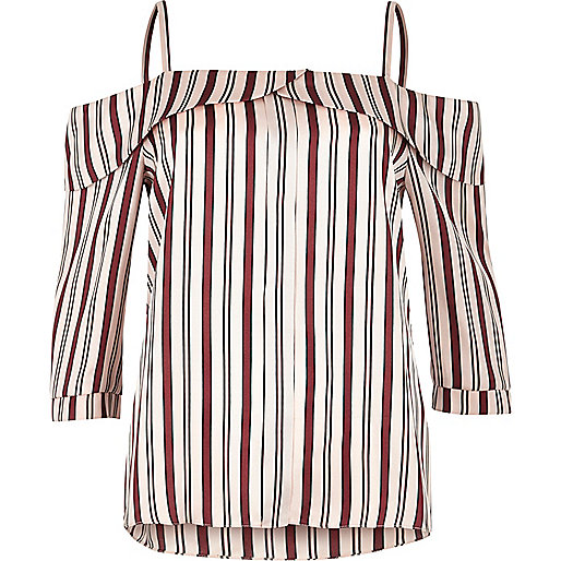 Pink stripe placket cold shoulder top