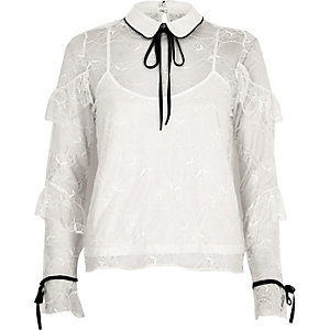 White lace frill contrast trim blouse