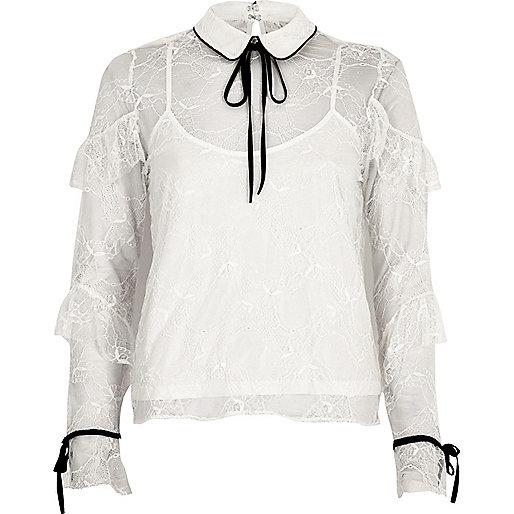 White lace frill contrast trim blouse