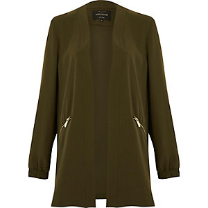 Khaki green open lightweight jacket