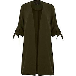 Khaki green tied cuff duster jacket