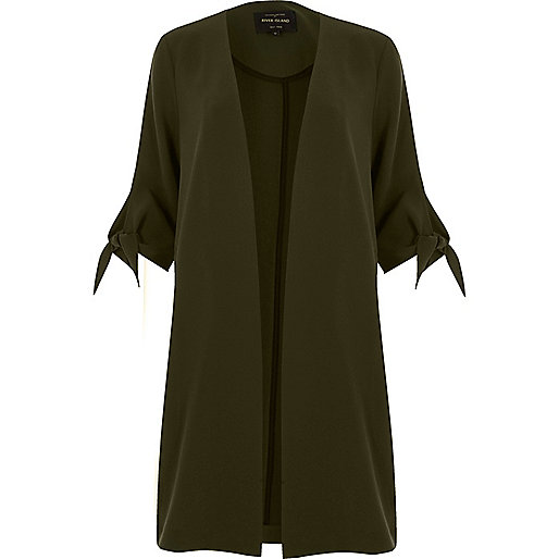 Khaki green tied cuff duster jacket