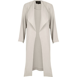 Grey popper duster coat