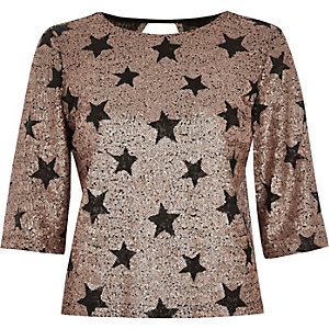 Cream sequin star print top