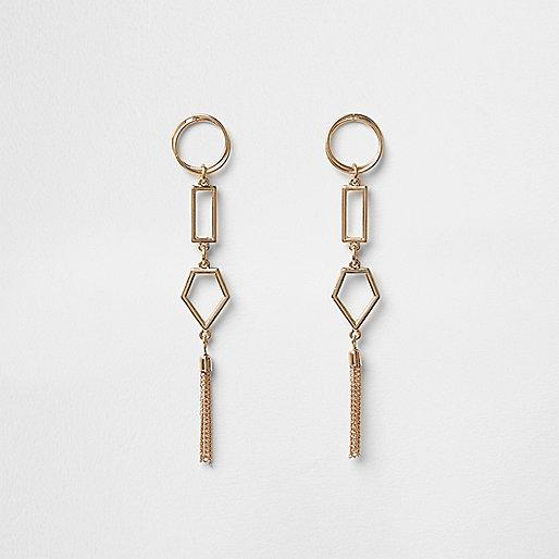 Boucles d'oreilles dorées à pampille forme géométrique