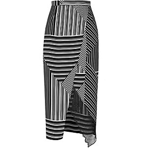 Black stripe wrap front skirt