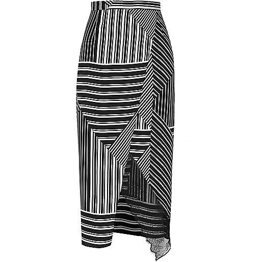 Black stripe wrap front skirt