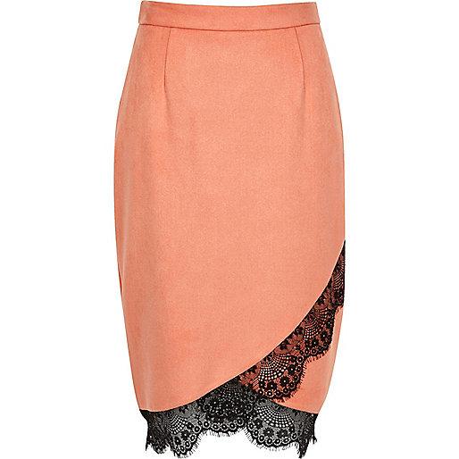 Pink faux suede lace hem pencil skirt