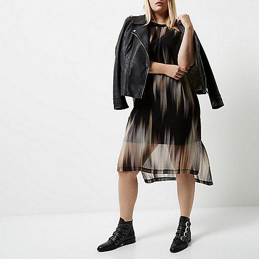 Plus black print mesh T-shirt dress