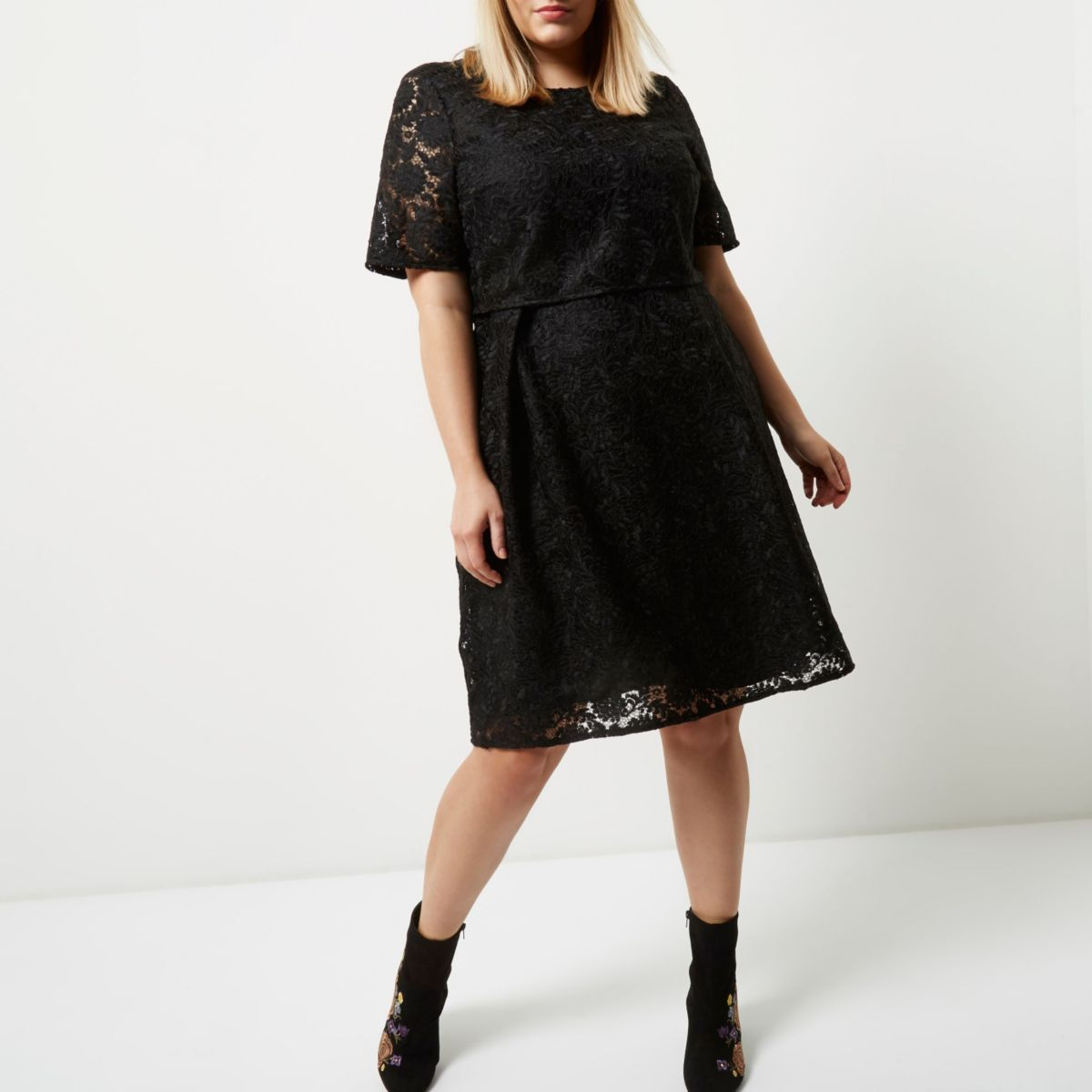 Plus black lace midi dress