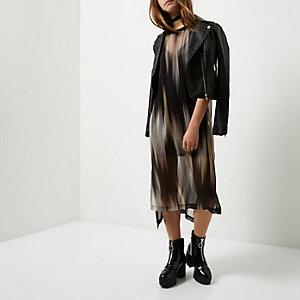Petite zwarte jurk met print en mesh laag