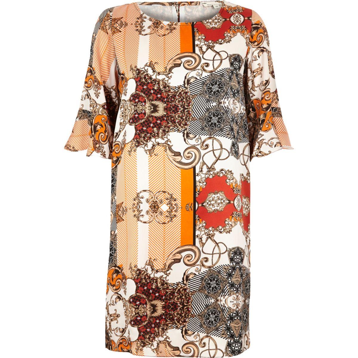 Orange print frill sleeve swing dress