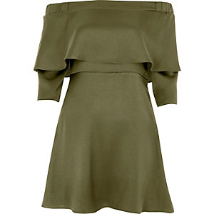 Khaki green deep frill bardot swing dress