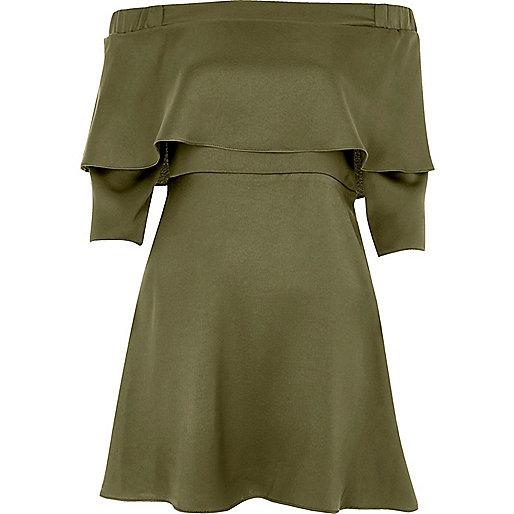 Khaki green deep frill bardot swing dress