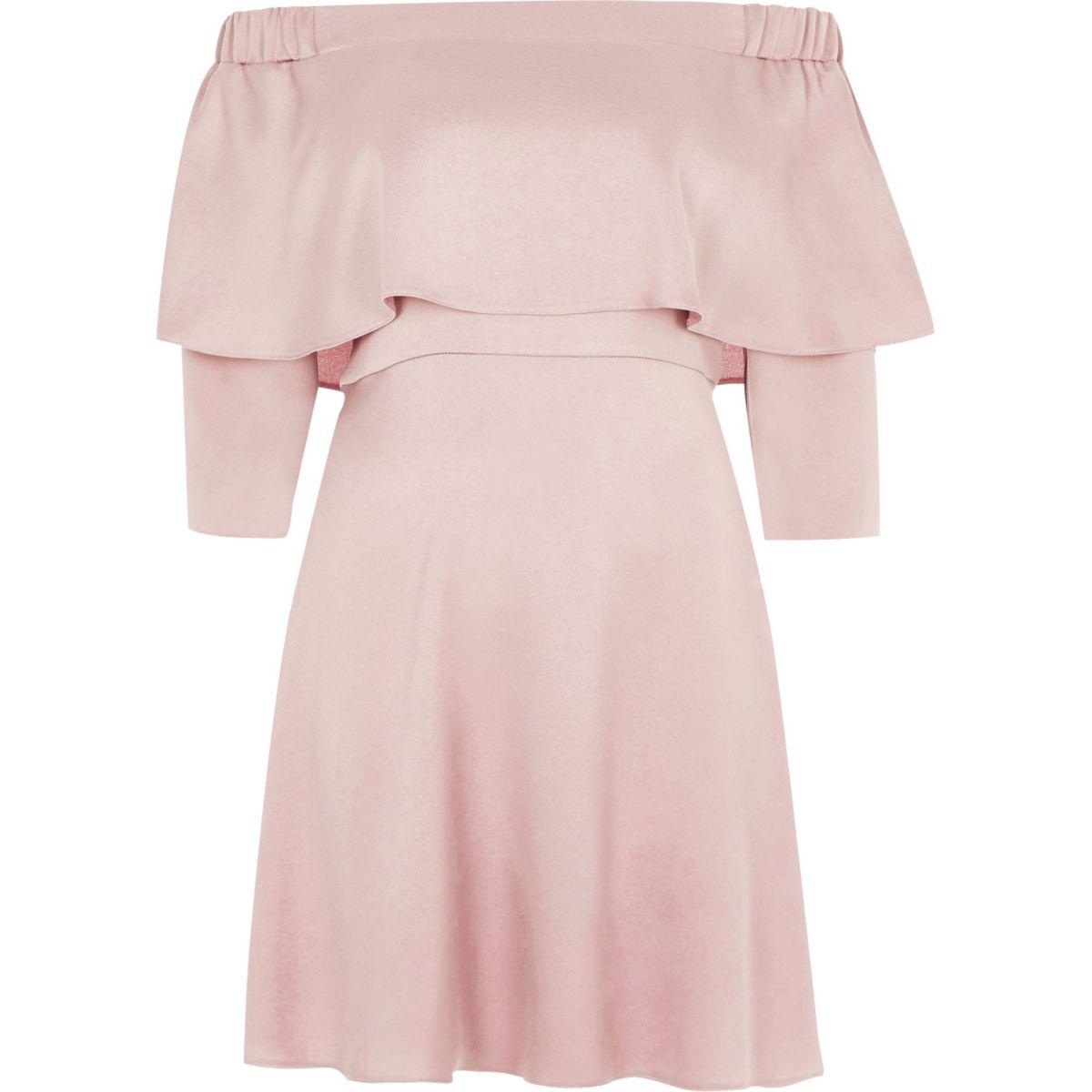 Pink frill bardot swing dress