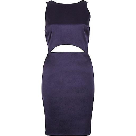 Mini robe violet foncé à découpes