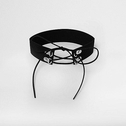 Schwarzes Korsagenhalsband
